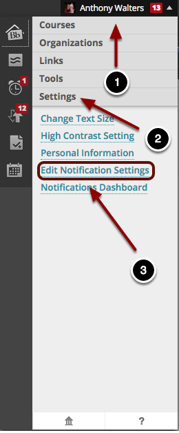 Image of the Personal Dashboard in Blackboard with the following items: 1.Click on your name in the upper right hand corner.2.Click on the Settings option3.Click on the option labeled Edit Notification Settings