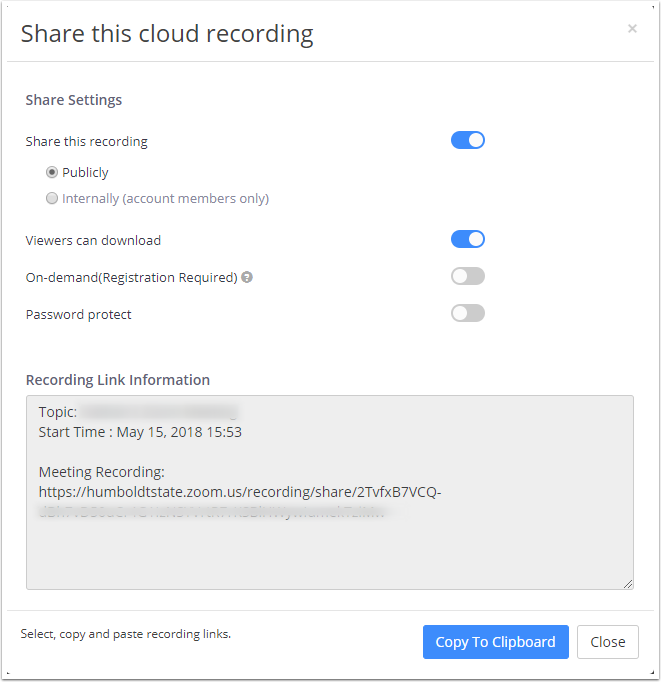 Recording Sharing Settings Window