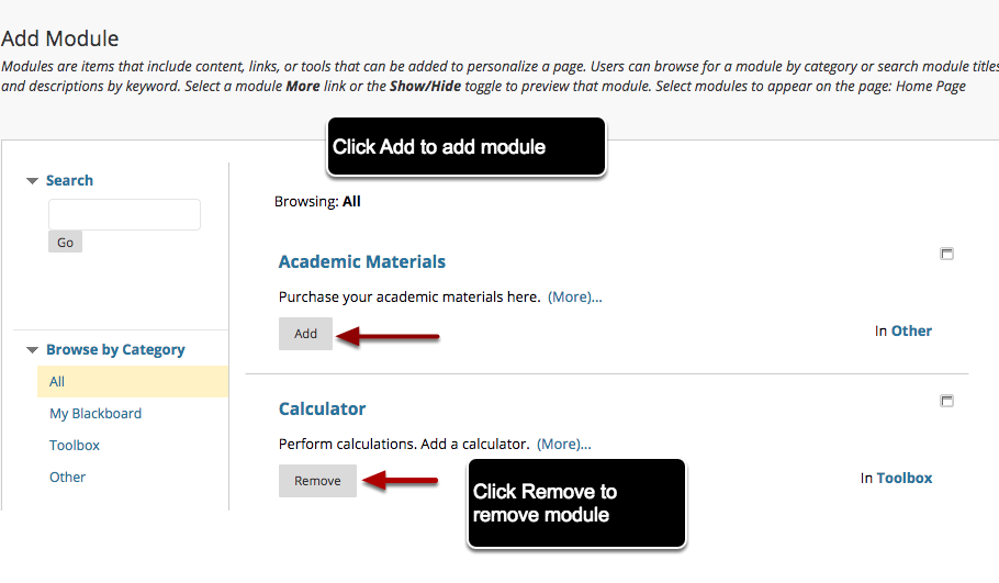 Image showing the names and descriptions of course modules.  Instructions indicate to click Add to add an individual module or to click Remove to remove a module