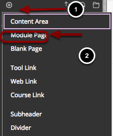 Image of the Add Menu Item menu with the following annotations: 1.Click on the Add Menu Item button (the plus sign) on the top of the course menu2.A menu will pop up. Select Module Page from the list
