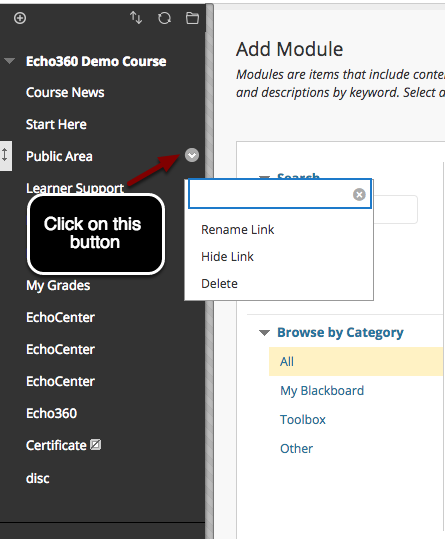 Image of the Blackboard course menu with an arrow pointing to a button for users to click on.