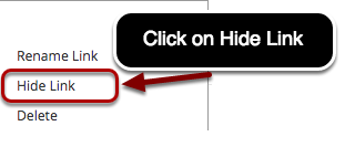 Image of the options menu with the following options: Rename Link, Hide Link, and Delete.  Rename link is highlighted in a red circle.