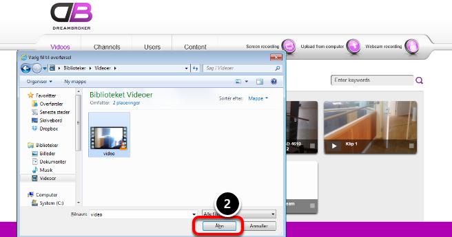 Vælg video-fil til overførsel