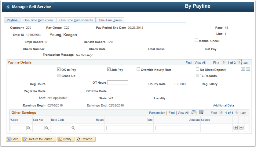 Paylines Search Results Payline Tab