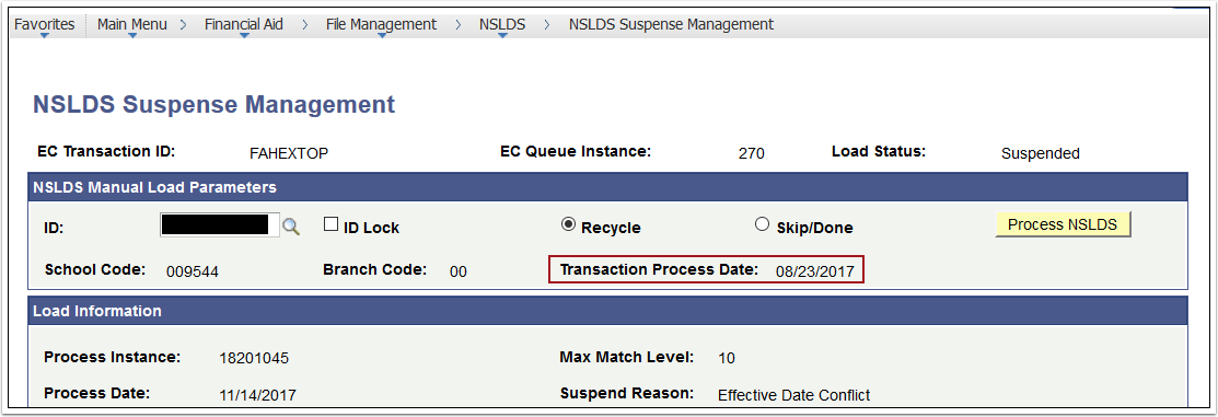 Transaction Process Date