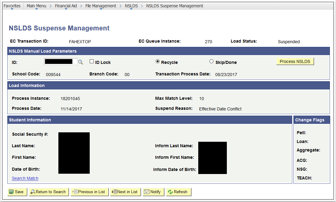 Suspense Management Details