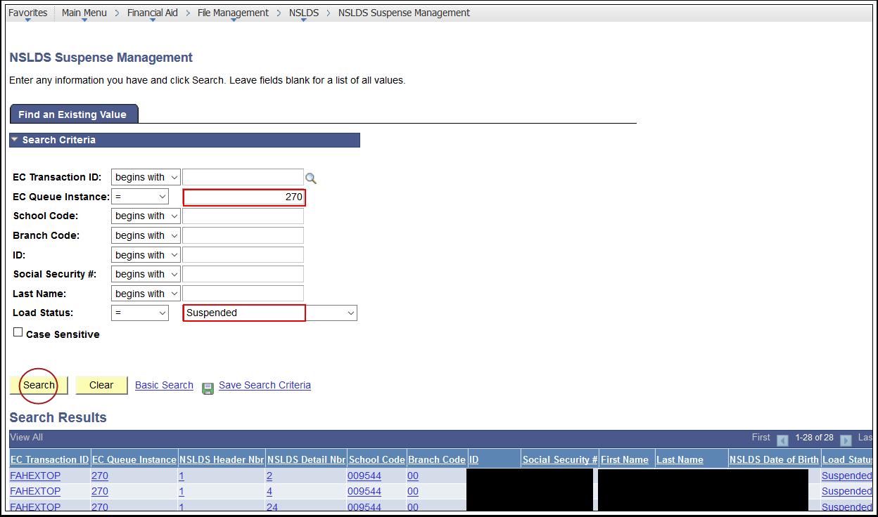 NSLDS Suspense Management Page