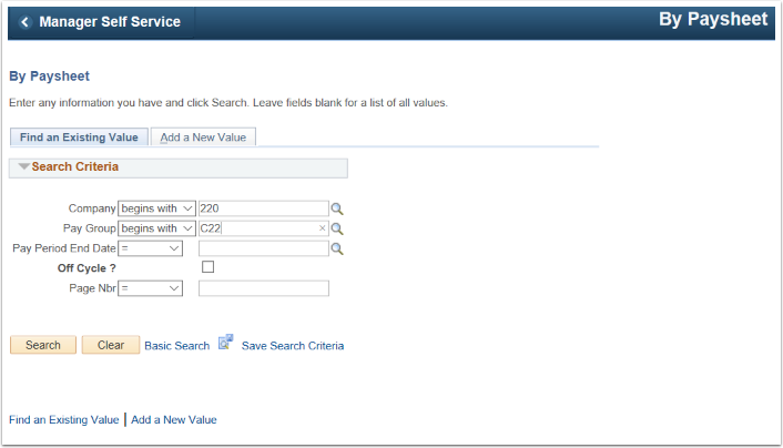 By Paysheet Search Criteria