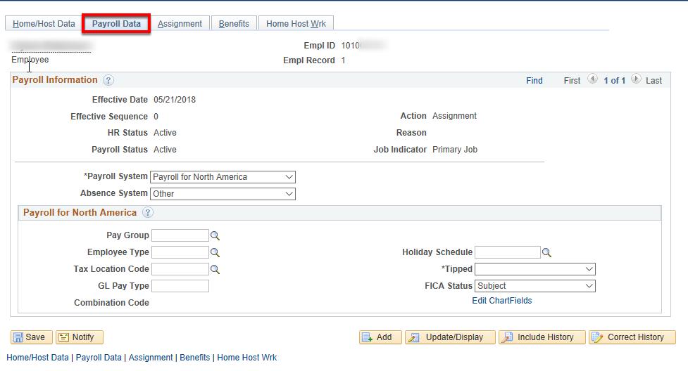 payroll data tab