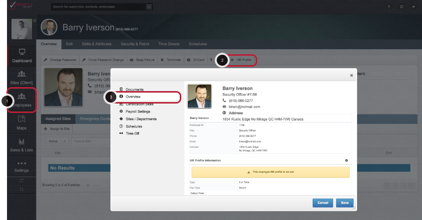 Access the HR Profile for the Employee