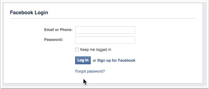 Logging in via Facebook