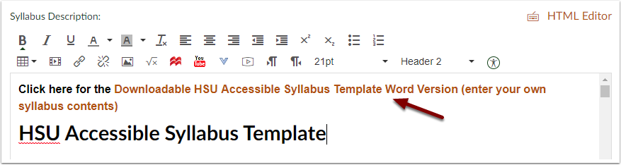 Canvas Syllabus Tool Rich Content Editor showing link to Microsoft Word File version