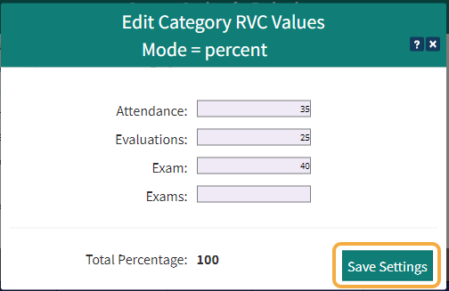 Set the percentage value for each Category