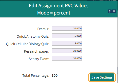 Set the percentage value for each Assignment