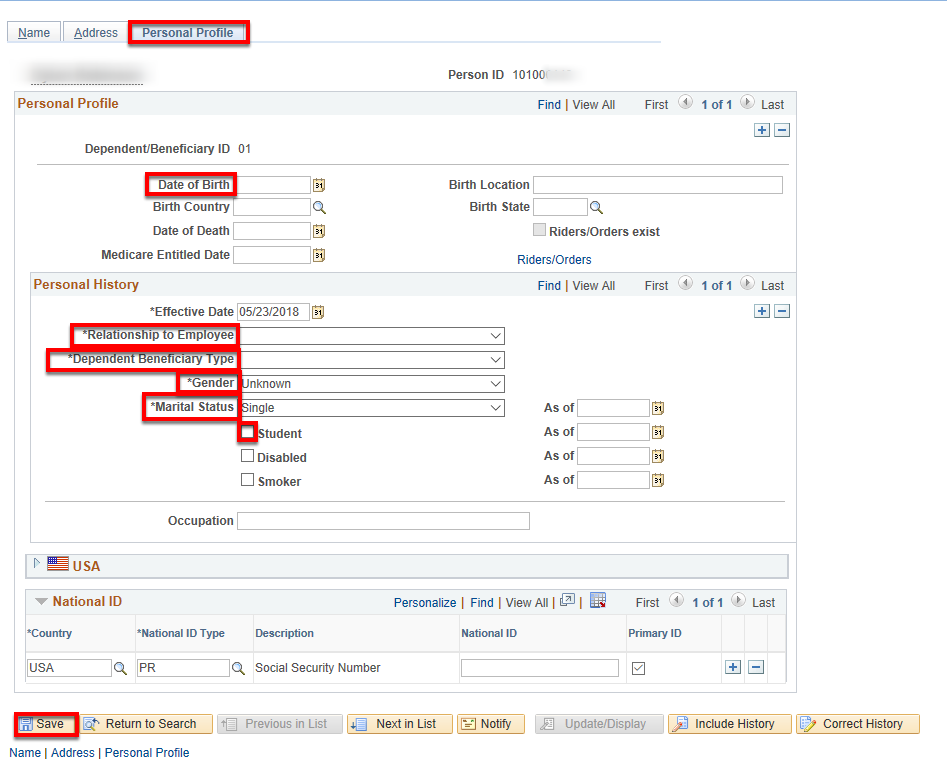 personal profile tab on enter dependent data page