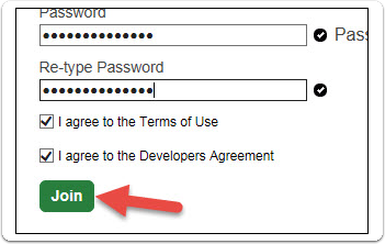 Enter and confirm a password