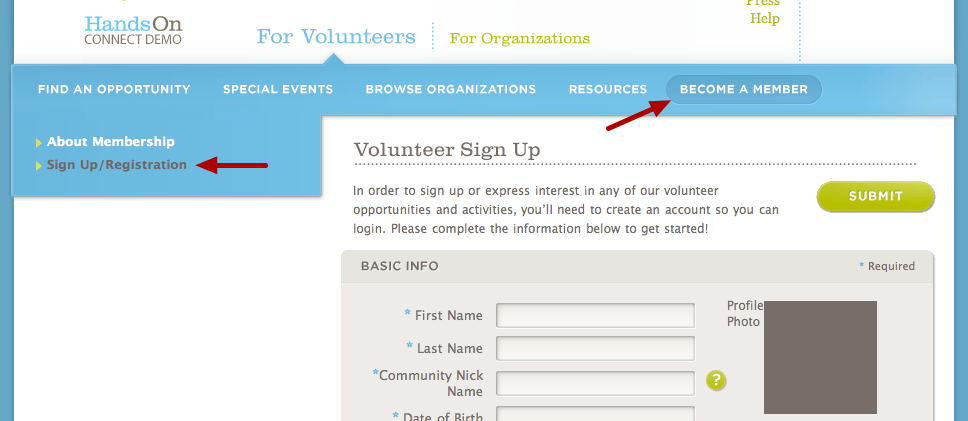 Creating a volunteer from the public site:
