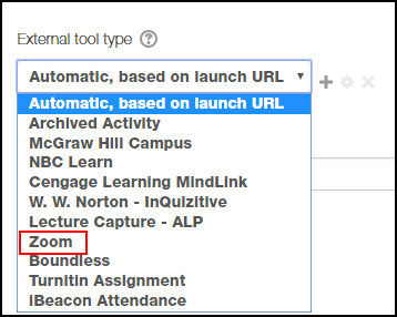 Zoom is highlighted in the External tool type drop-down menu