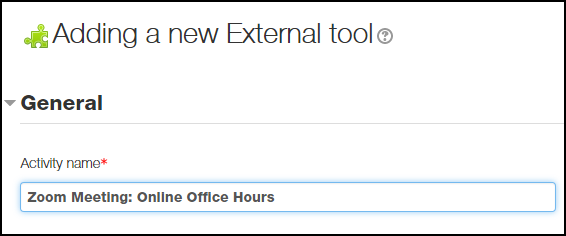 External tool settings with name of activity populated