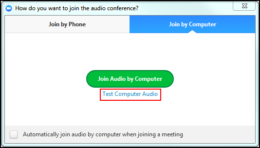 Test Computer Audio is highlighted