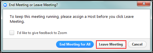 Leave Meeting button is highlighted