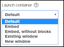 Default is selected from the launch drop-down menu