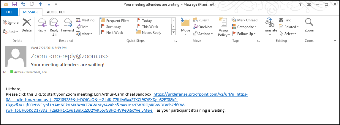 Zoom notification email