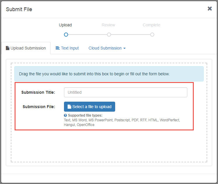 Title your submission and Select a file to upload