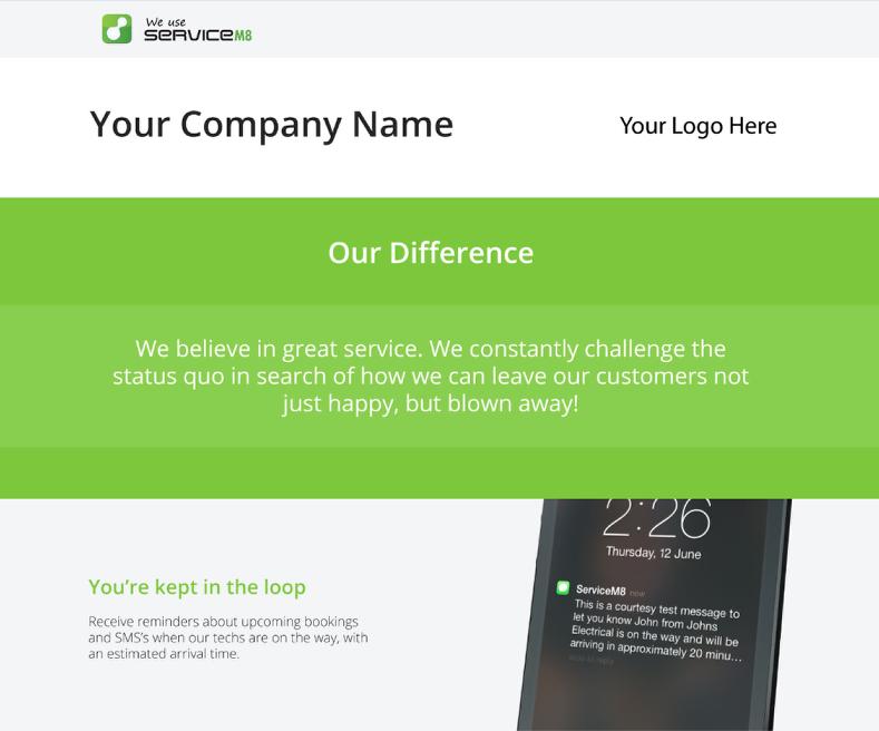 The 'We Use ServiceM8' webpage.