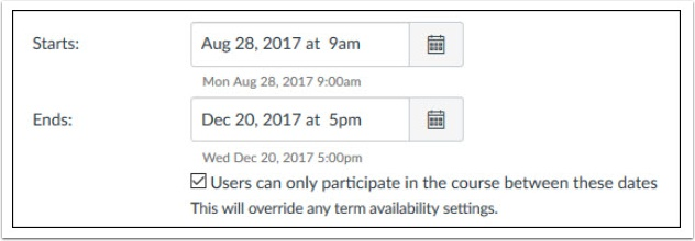 DO NOT remove the dates completely or extend past a reasonable time since students will have complete access to your course and will continue to receive notifications from your course.