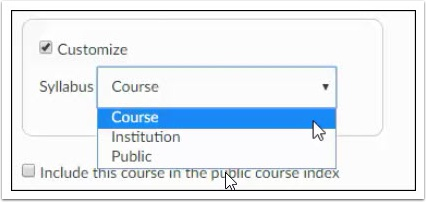 CustomizeSyllabusmenu dropdown is shown as course, institution, and public