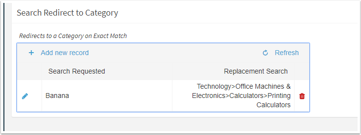 Search Redirect to Category