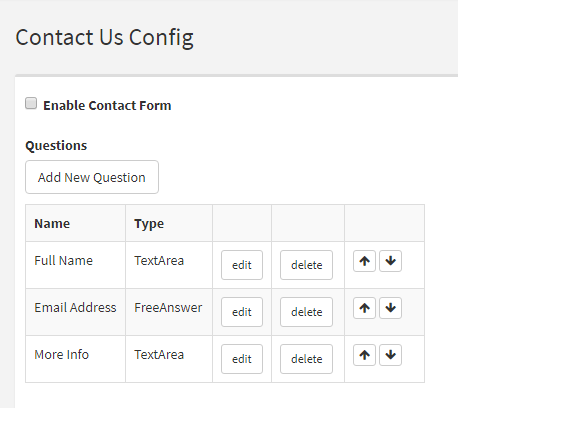 Contact Us Config