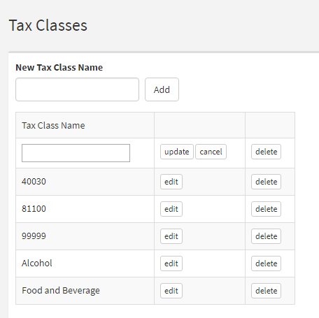 Tax Classes