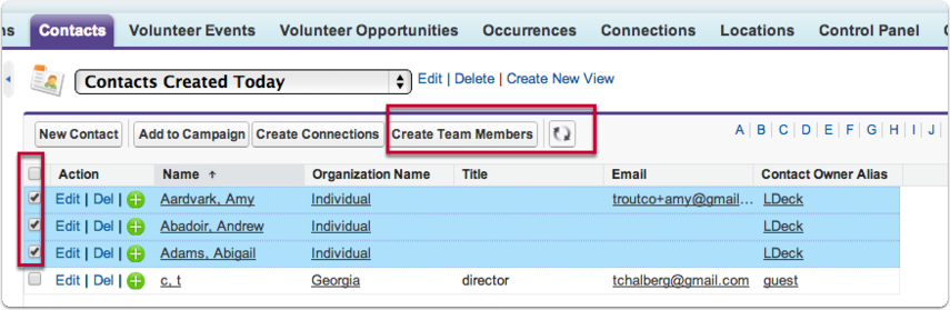 Step 3 - Use the Contacts View you've created to create your team and its member records: