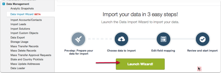 """Step 2: Import Data using the SF """"Data Import Wizard"""" beta in the setup menu."""