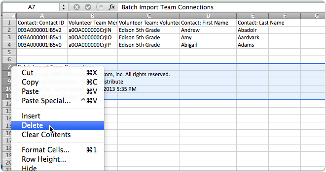 Remove the footer on the .csv file, and save.