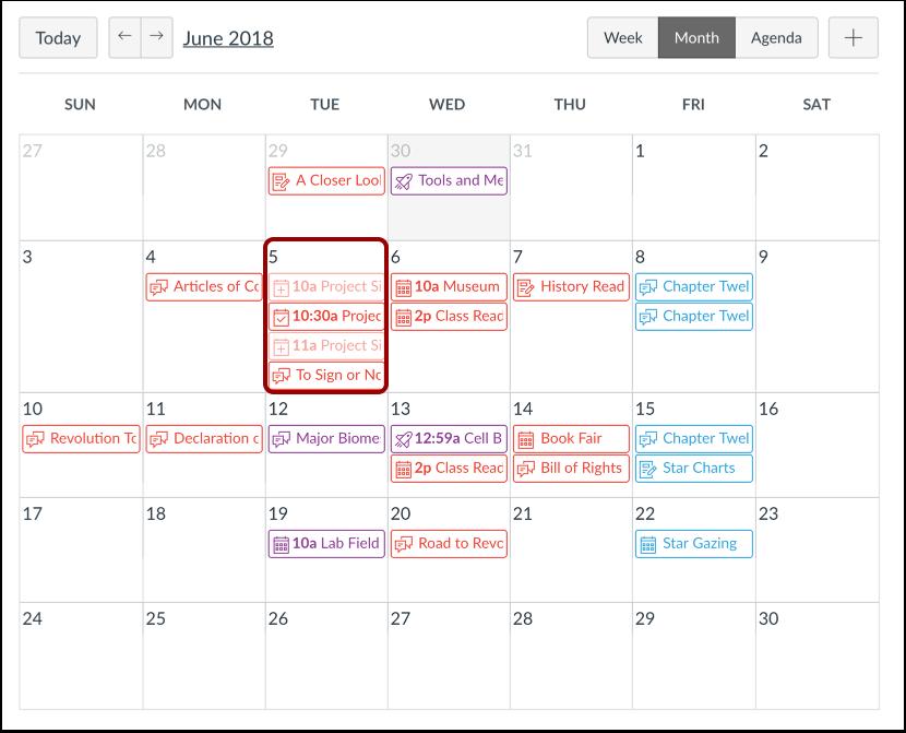 Afficher le calendrier
