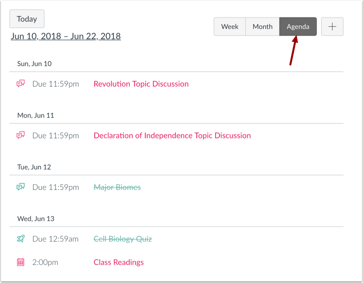 View Calendar Agenda