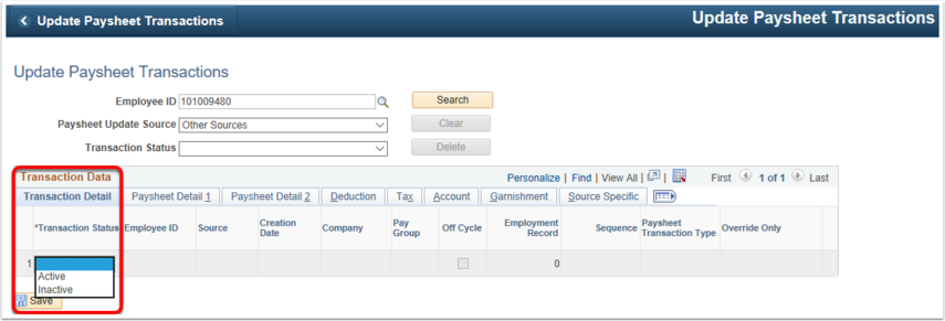 Search Results Transaction Data Grid