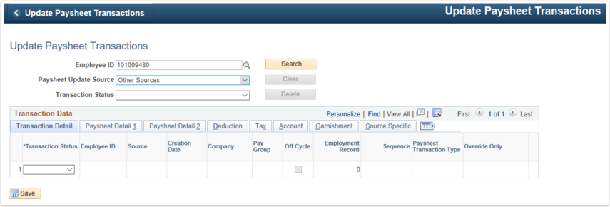Update Paysheet Transactions Search Page