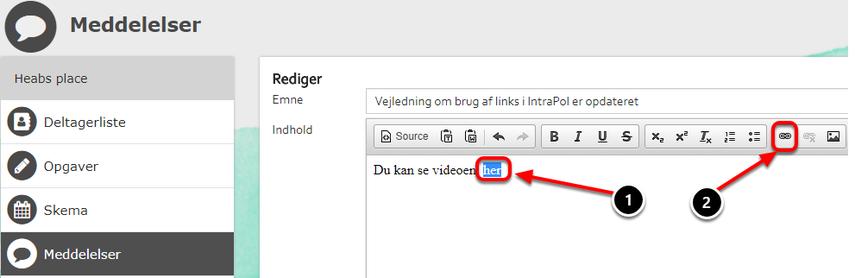 Gå nu til den meddelelse eller wiki hvor du vil indsætte din fil