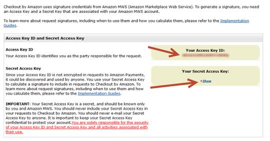 Locating MWS Access Key ID and MWS Secret Access Key: Step 2