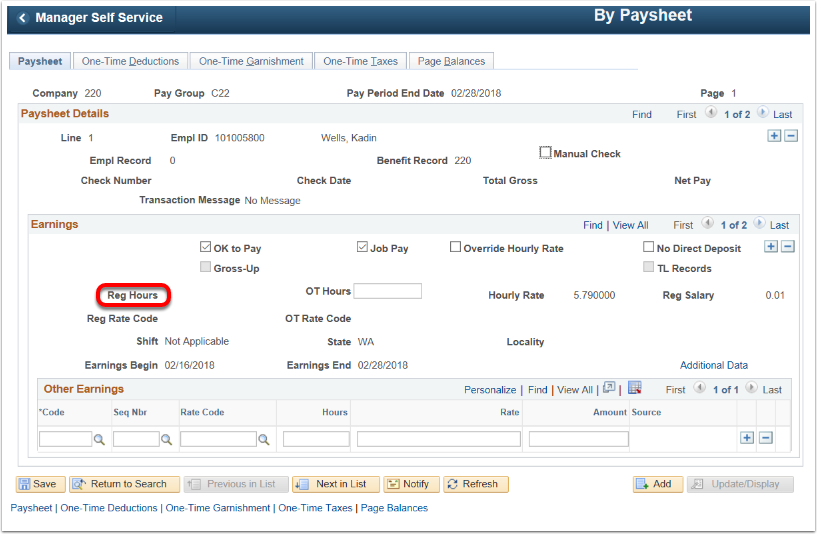 Paysheet Update Page