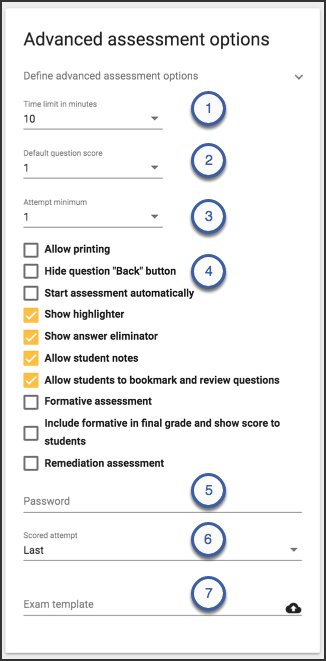 Image of the advanced assessment options card displaying the options just listed.