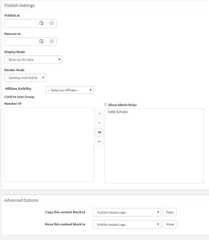 Publish Settings & Advanced Options