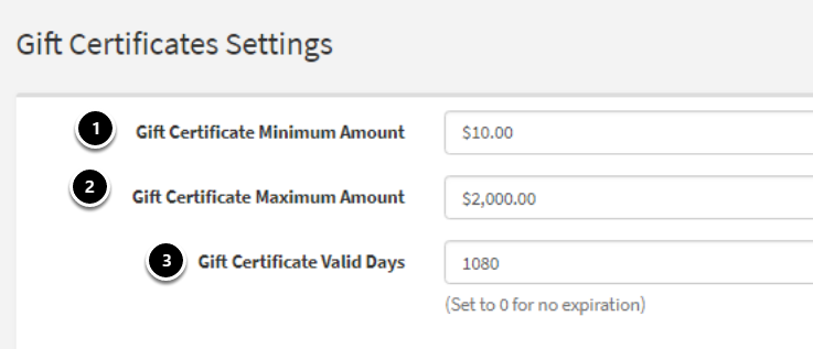 Gift Certificate Settings