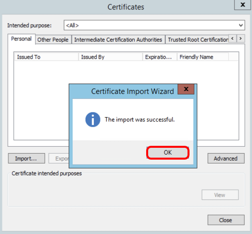 Certificate imported