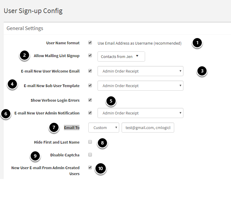 User Sign-up Config