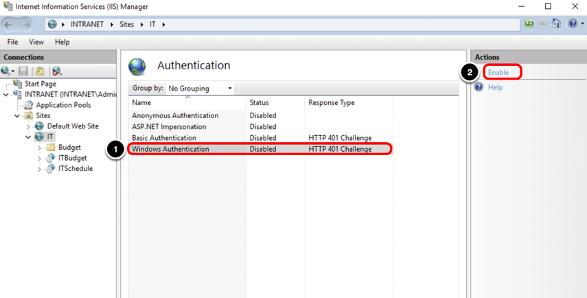 Set Windows Authentication